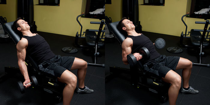 incline curls on bench